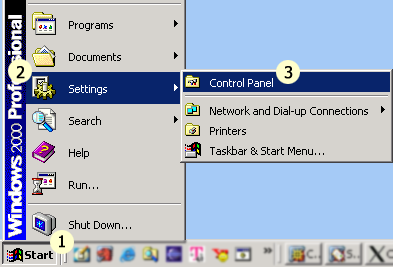 "Click on the ""start"" button; Select ""Settings""; Select ""Control Panel."""